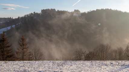 fog in the forest over a winter landscape in december