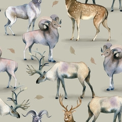 Seamless pattern, Watercolor background of stag, deer and mutton on gray.
