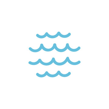 Water lake, water waves. logo icon simple sign. Soft and hand-drawn.