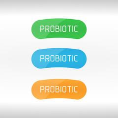 Probiotics Bacteria Vector Logo. Prebiotic, Lactobacillus Vector Icon Design. Concept of Logo or Vector Symbol for Milk Products Contains Lactobacillus Probiotic Bacteria.