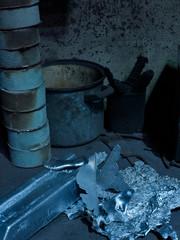 Detail in Metallgiesserei  Werkstatt mit Silber Barren
