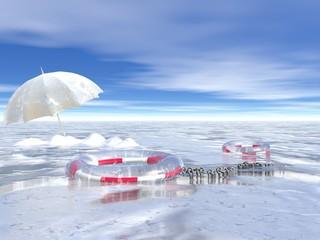 mare ghiacciato con salvagente