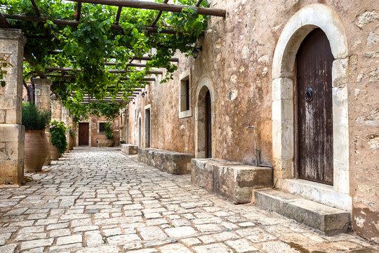 Inner yard of Arkadi Monastery, Crete, Greece
