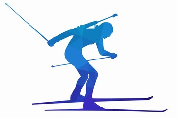 illustration of a biathlon skier , vector draw