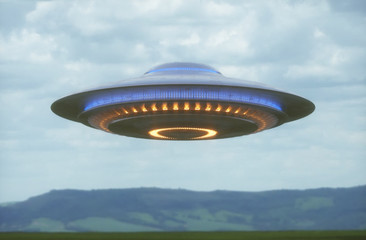 Keuken foto achterwand UFO Unidentified flying object. UFO with clipping path included. 3D illustration in real picture.