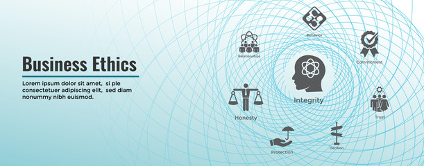 Business Ethics Web Banner and Icon Set with Honesty, Integrity, Commitment, and Decision