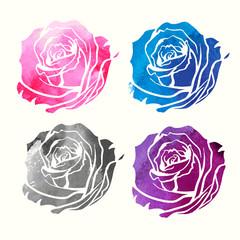 set of watercolor roses