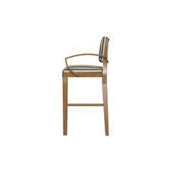 High resolution strip fabric bar stool side view with wooden frame icon for plan and elevation rendering and designing.