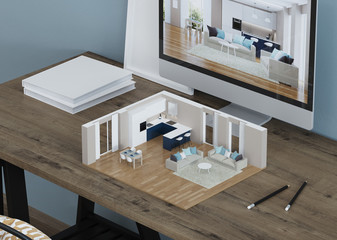 Interior model on the desktop with a monitor. 3D Modeling. 3D Courses. 3D rendering.