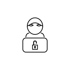 Hacker, hacker icon on white background. Can be used for web, logo, mobile app, UI UX