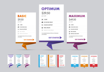 Pricing Table Layout Set