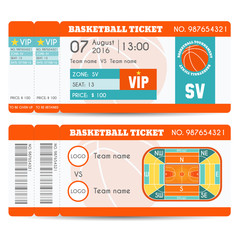 Basketball Ticket Modern Design