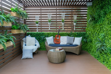 Seating in the garden on the balcony, is a recreation place.