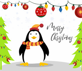 Cute merry christmas background with funny penguin vector illustration