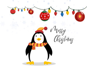 Cute merry christmas banner with funny penguin on the white background vector illustration