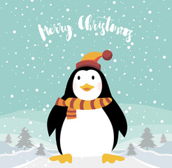 merry christmas background with funny penguin vector illustration