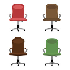 Set of multicolored office chair icons. Flat vector illustration.