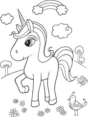 Fotobehang Cartoon draw Cute Unicorn Coloring Page Vector Illustration Art
