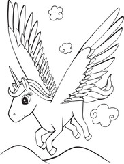 Spoed Foto op Canvas Cartoon draw Cute Unicorn Pegasus Coloring page Vector Illustration Art