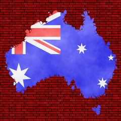 Illustration of an Australian flag, imitation of a painting on the cracked wall
