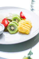 fruit plate served - fresh fruits and healthy eating styled concept