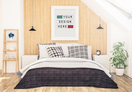 Framed Print in Bedroom Mockup