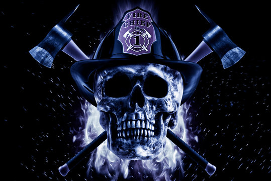 Firefighter skull and axe in blue fire on a black background. Photo manipulation artwork, 3D rendering.