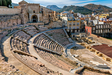 View of historic Roman Theater in Cartagena, Spain