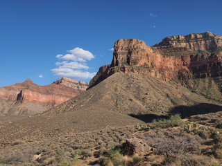 Views from the Tonto Trail on a sunny summer afternoon in Grand Canyon National Park, Arizona.