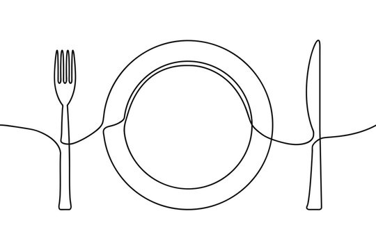 One continuous line illustration of plate, knife and fork. Vector.