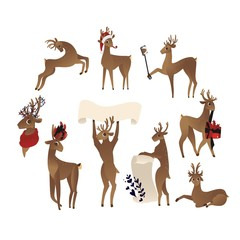 vector cute christmas reindeer set. Funny winter characters making selfie by smartphone with stick, holding poster, present in horns. Merry christmas holiday design animal, isolated illustration