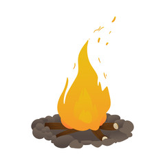 Vector burning bonfire cartoon icon. Camping tourism attribute for warm, light and food preparation. Natural fire made of flammable firewood. Isolated illustration