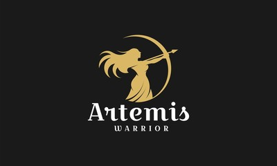 Artemis logo design template,archery illustration logo vector