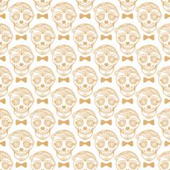 Vector Seamless pattern Gold Calavera skull. Hand drawn Virile male design texture