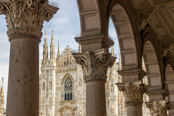 cathedral and buildings on Piazza del Duomo in Milan in Italy