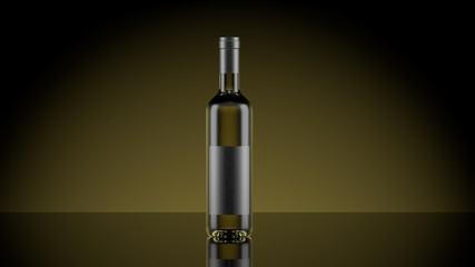 White wine with blank dark label 3D illustration