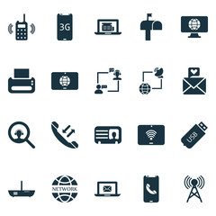 Communication icons set with worldwide, male card, network communications and other magnifier  elements. Isolated vector illustration communication icons.