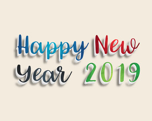 Happy new year 2019. Greetings card. Colorful design. Vector illustration.
