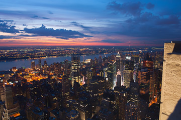Fototapete - View on New York and New Jersey after sunset