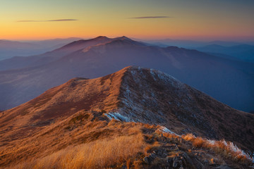 Sunset over Bieszczady Mountains, south east Poland