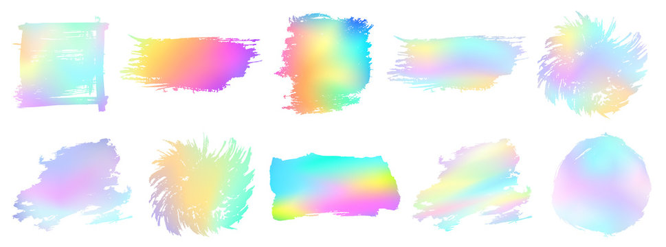 Grunge set. Holographic texture. Detailed grunge backgrounds. Ink splash. Isolated backdrops for text or logo. Rainbow paint. Stains collection. Ink. Place for text. Design element.