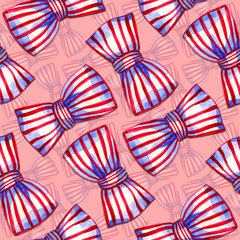 Rotated bows of striped ribbon on the pink background. Watercolor seamless pattern.