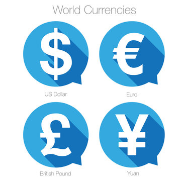 World currencies sign symbol set