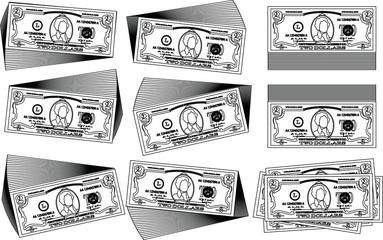 Bunch of 2 US dollar banknote outline set