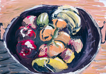 Oil paint of fruits and vegetables Crete Greece Europe