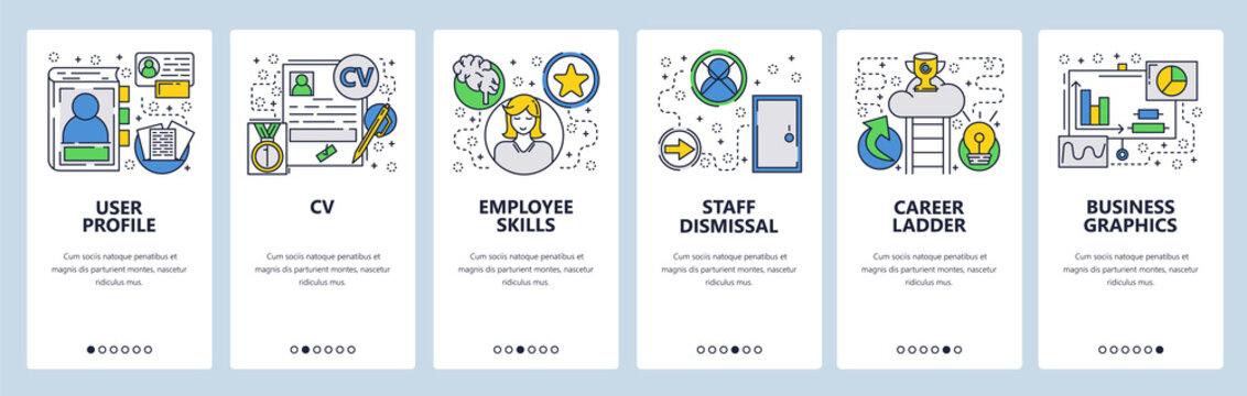 Web site onboarding screens. CV, Resume and career ladder. Menu vector banner template for website and mobile app development. Modern design linear art flat illustration.