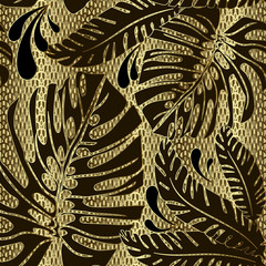 Palm leaves ornate vector seamless pattern. Ornamental gold grid lattice textured 3d background. Decorative floral repeat lace backdrop. Tropical plants hand drawn leafy ornament. Vintage design