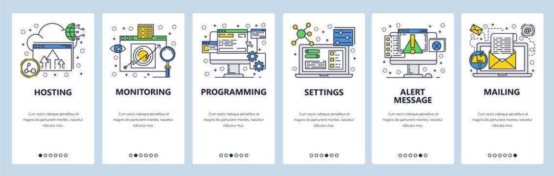 Web site onboarding screens. Computer and internet services, coding. Menu vector banner template for website and mobile app development. Modern design linear art flat illustration.