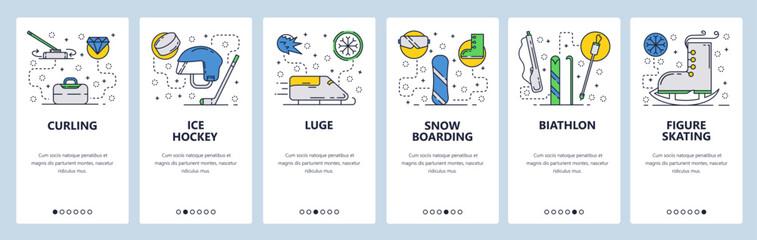 Web site onboarding screens. Winter sport, ice hockey, snowboarding, biathlon and figure skating. Menu vector banner template for website and mobile app development. Modern design linear art flat