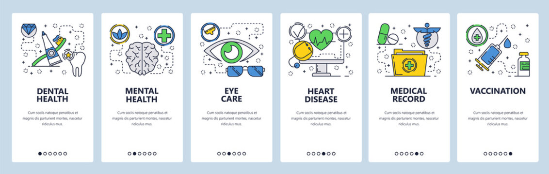 Web site onboarding screens. Medical checkup and body health, vaccination and medical records. Menu vector banner template for website and mobile app development. Modern design linear art flat